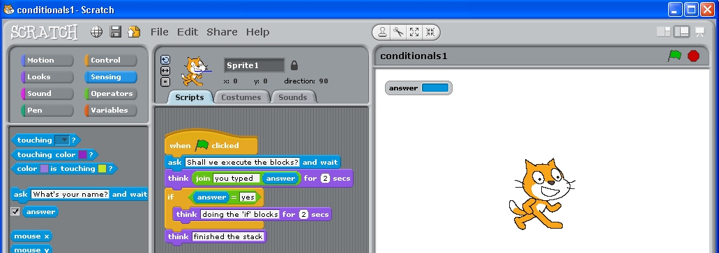 simple 'if' statement stack in Scratch.