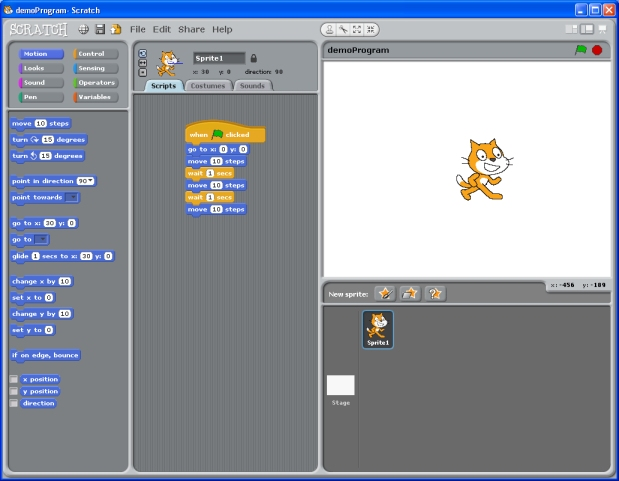 Scratch window with demonstration program opened