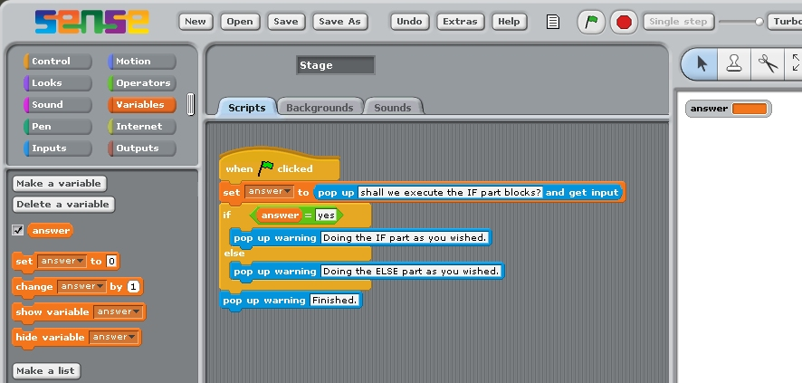 simple 'if ... else ...' statement stack in Scratch.